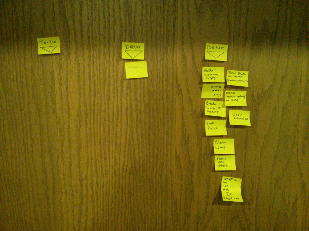 An impromptu kanban used for visualizing the steps in selling a lamp on craigslist.
